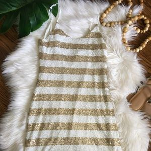 MM Couture White & Gold Sequin Stripe Dress, sz XS